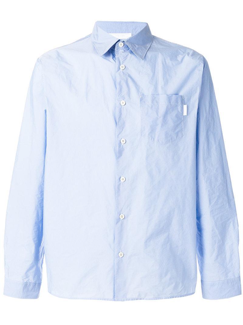 Lyst - Chemise à poche poitrine Prada pour homme en coloris Bleu a4c9a3167d4