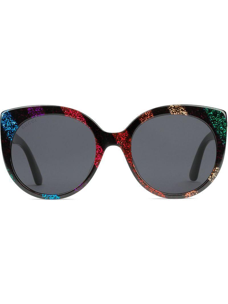 6edb131dc Gucci Cat Eye Glitter Acetate Sunglasses in Black - Lyst