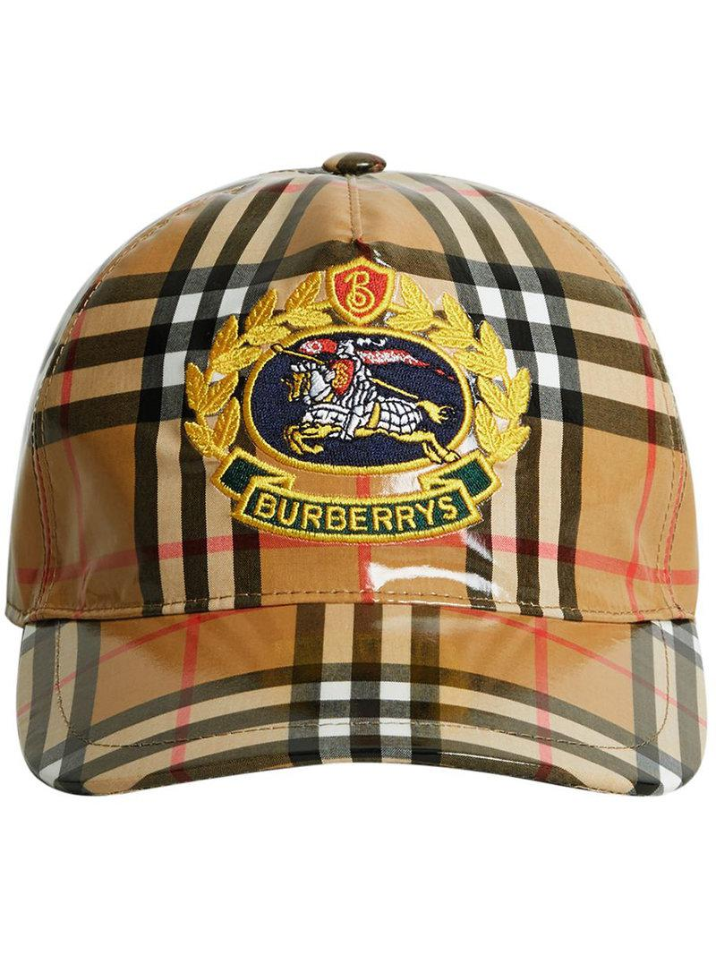 dc9d91bfa2e Lyst - Burberry Archive Logo Coated Vintage Check Baseball Cap in ...