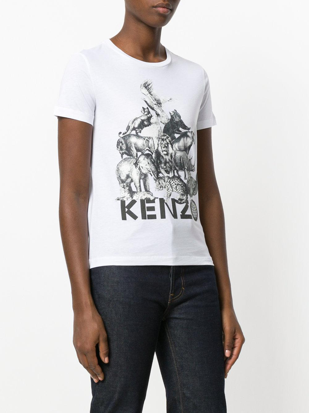 d408754b KENZO Animal Kingdom Print T-shirt in White - Lyst