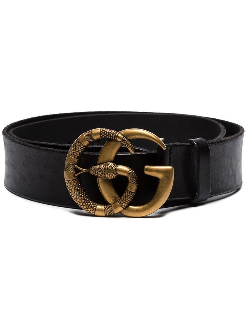 33ff6fc392f Lyst - Gucci Double G Snake Buckle Belt in Black for Men
