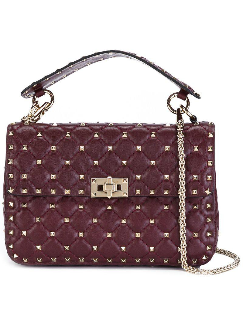 196f69ffa734 Lyst - Valentino Rockstud Spike Medium Leather Shoulder Bag in Red ...
