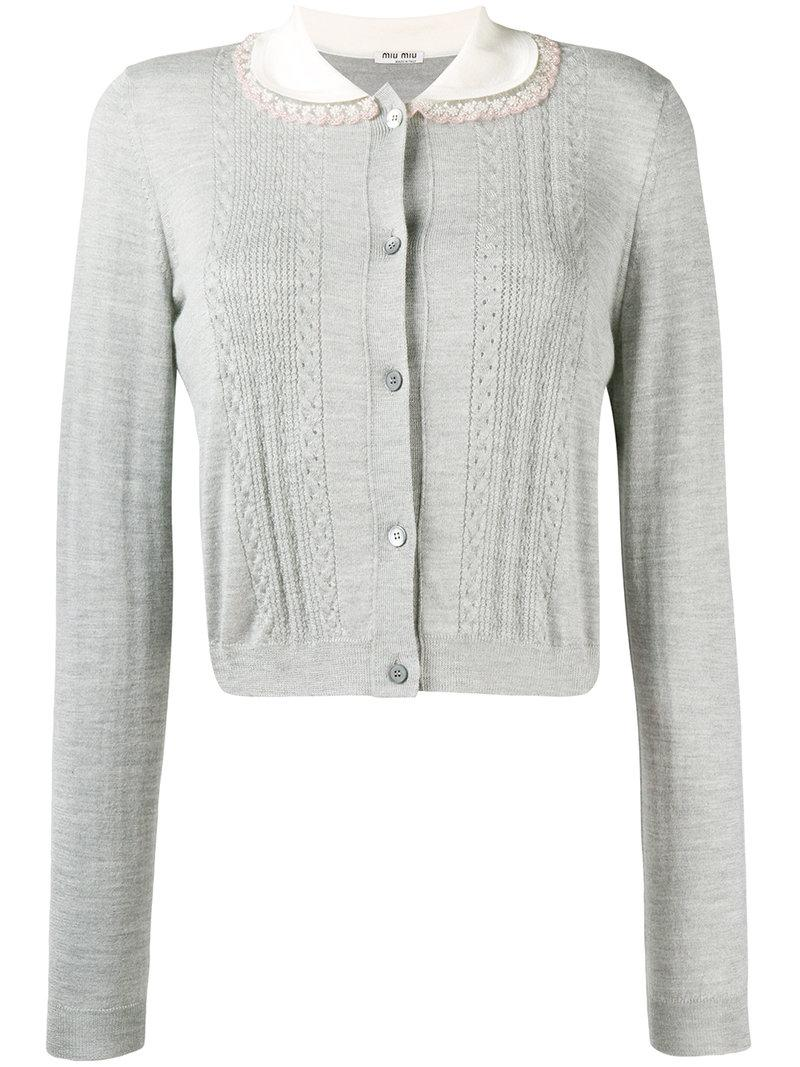 Whole World Shipping contrast-collar fitted cardigan - Grey Miu Miu Sale Best Sale fR3th9k