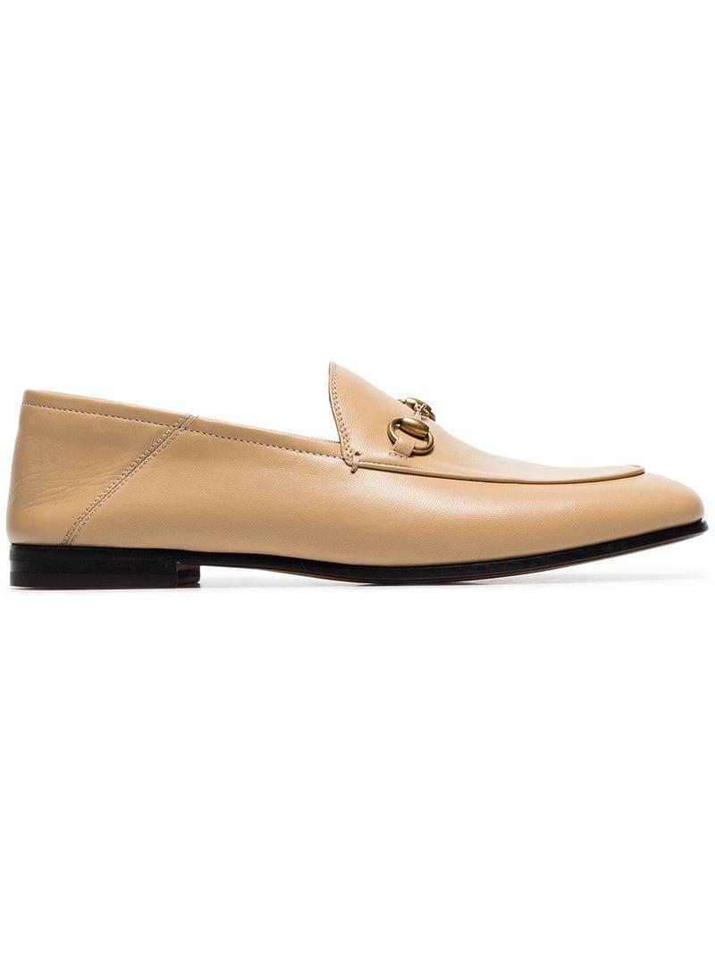 e9426880b82 Lyst - Gucci 10mm Brixton Leather Loafers in Natural - Save 11%