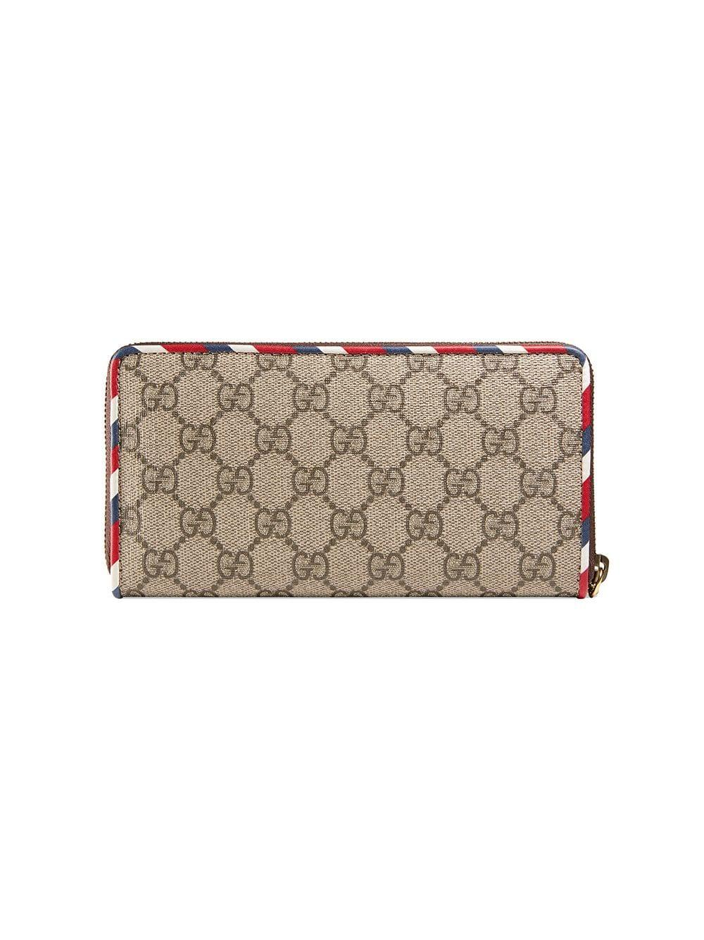 2c00a33e Lyst - Gucci Courrier GG Supreme Zip Around Wallet in Brown for Men