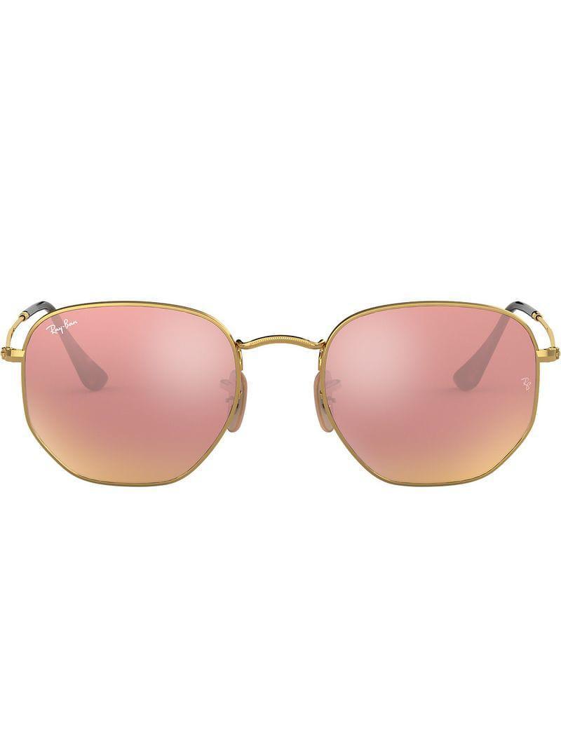 aad678b794 Ray-Ban Hexagonal Flat Sunglasses in Metallic for Men - Lyst