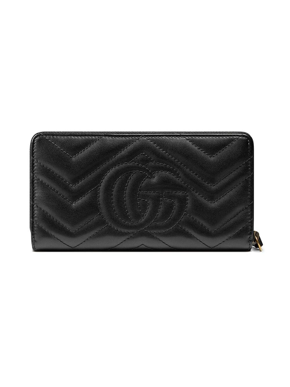 8a09e3b9c485 Lyst - Gucci GG Marmont Zip Around Wallet in Black