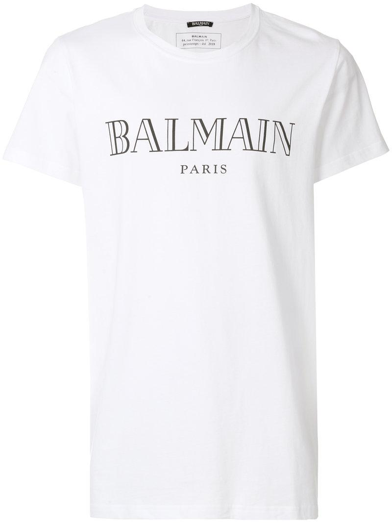 Lyst balmain logo print t shirt in white for men save 8 for Balmain white logo t shirt