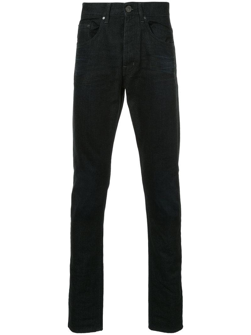 Skinny-fit Washed Stretch-denim Jeans Kent & Curwen sZy01Gyp