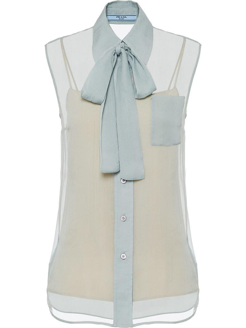 c2304945c6c7f5 Lyst - Prada Silk Chiffon Shirt in Blue