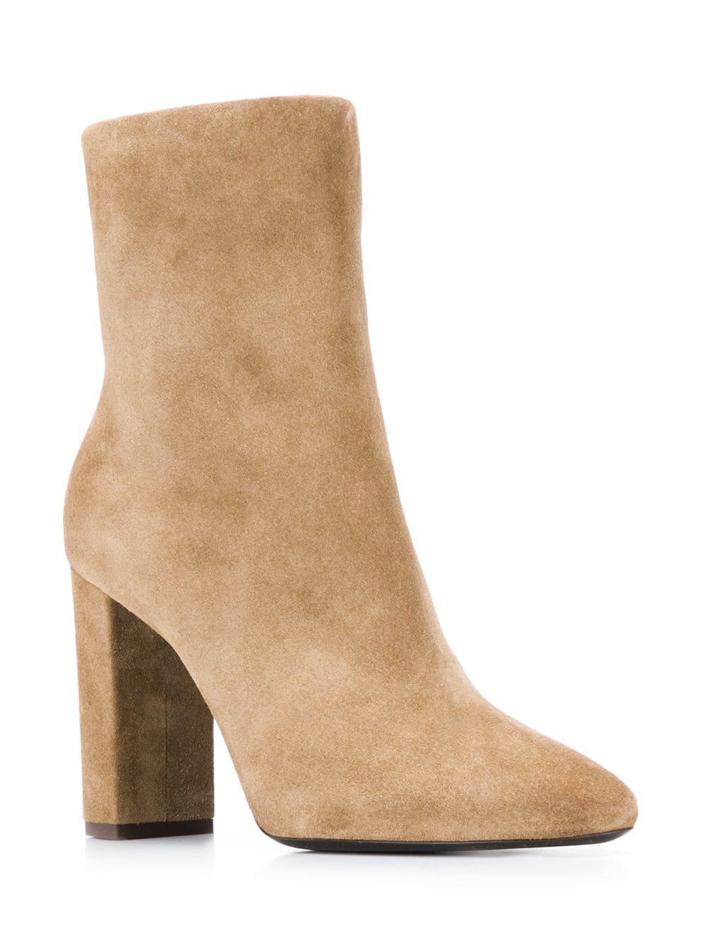 195724d9d3f Lyst - Saint Laurent Lou Ankle Boots in Brown