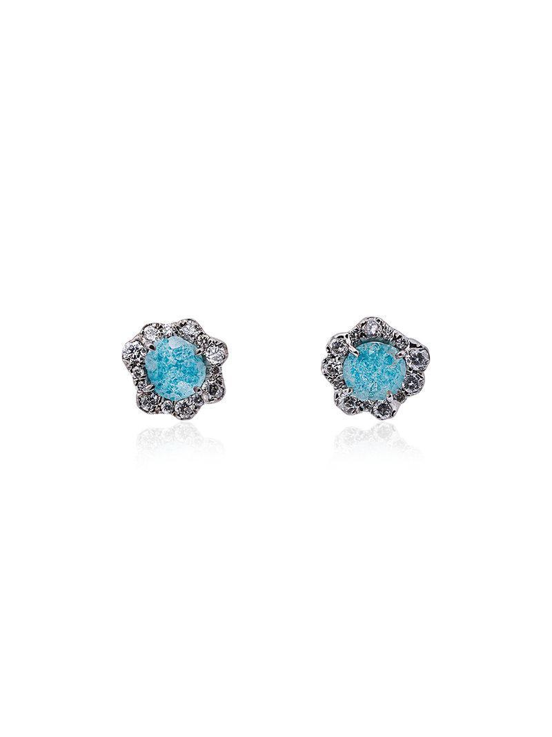 Kimberly McDonald 18k white gold, diamond and blue agate studs