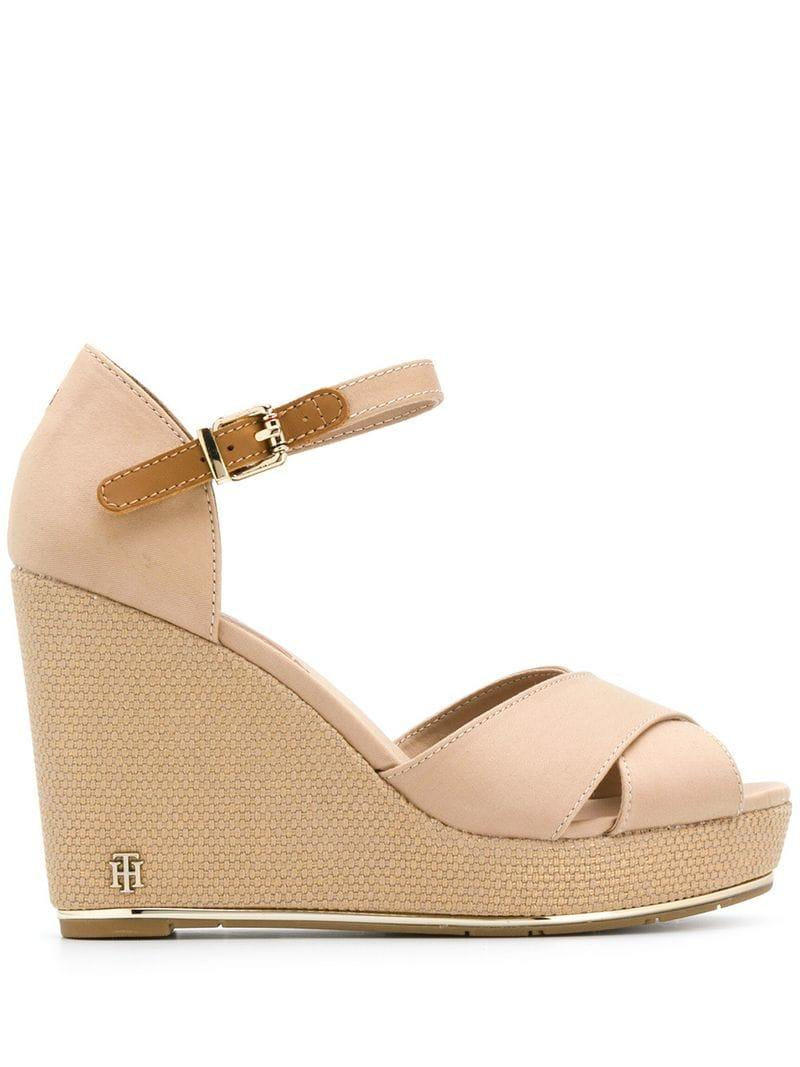 e8bd9c483d7db5 Lyst - Tommy Hilfiger High Wedge Sandals in Natural