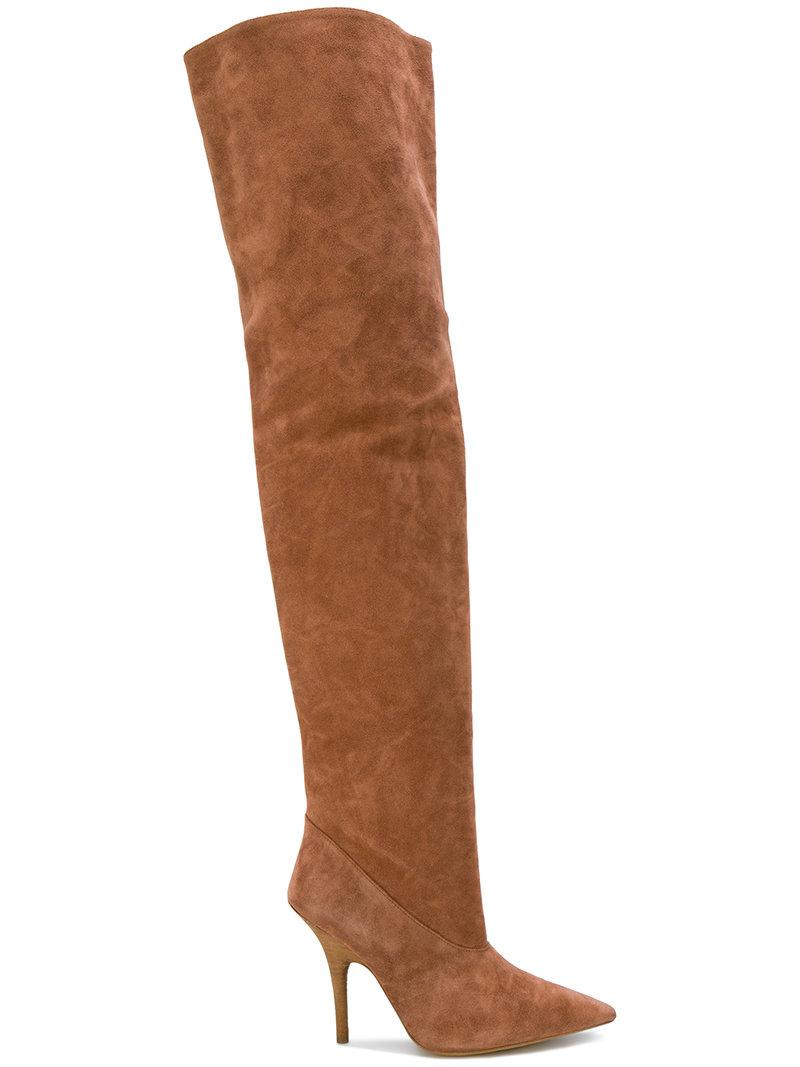 Yeezy. Women's Brown Tubular Thigh High Boots