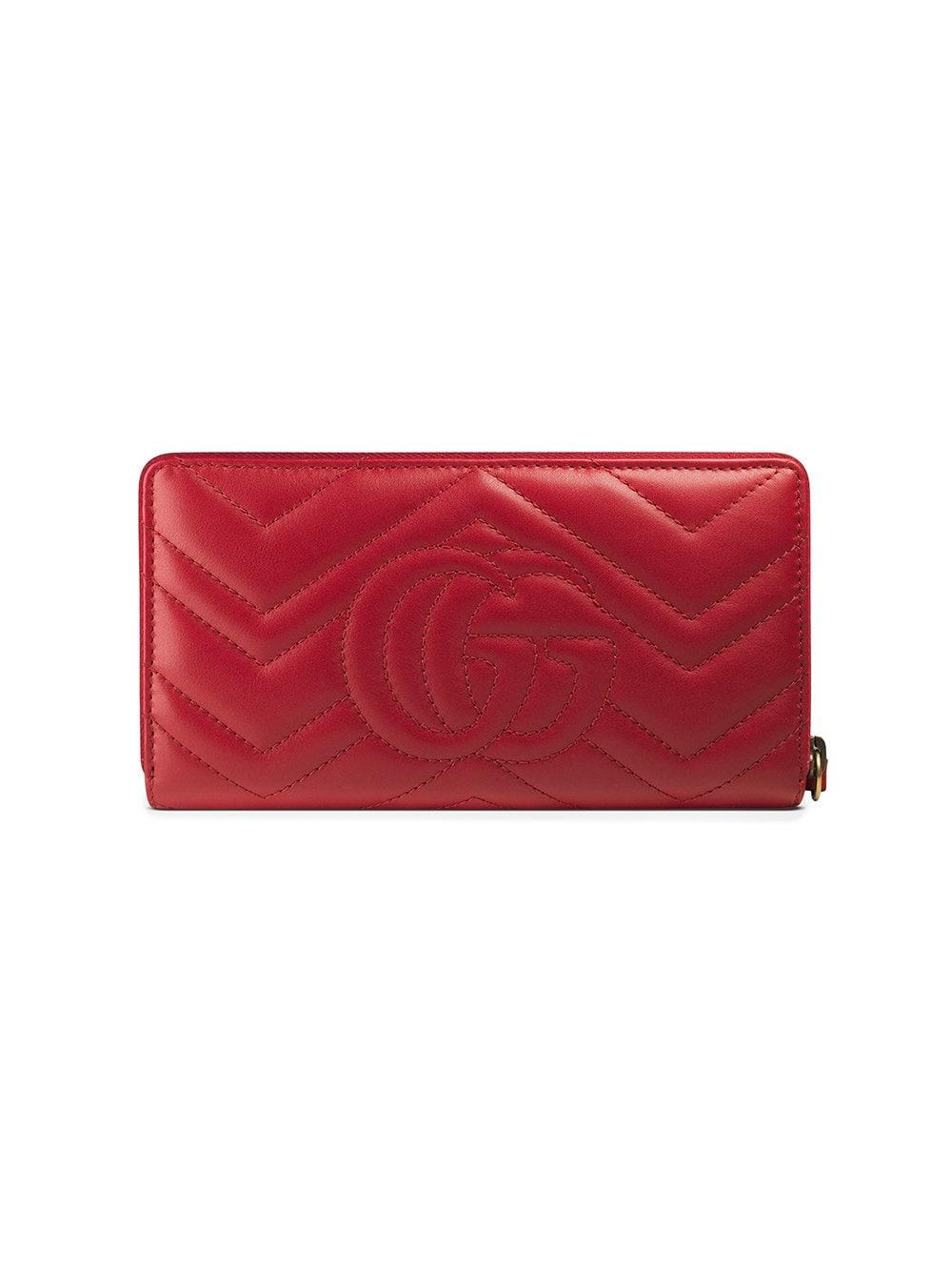 9601bcb2863 Lyst - Gucci GG Marmont Matelassé Wallet in Red