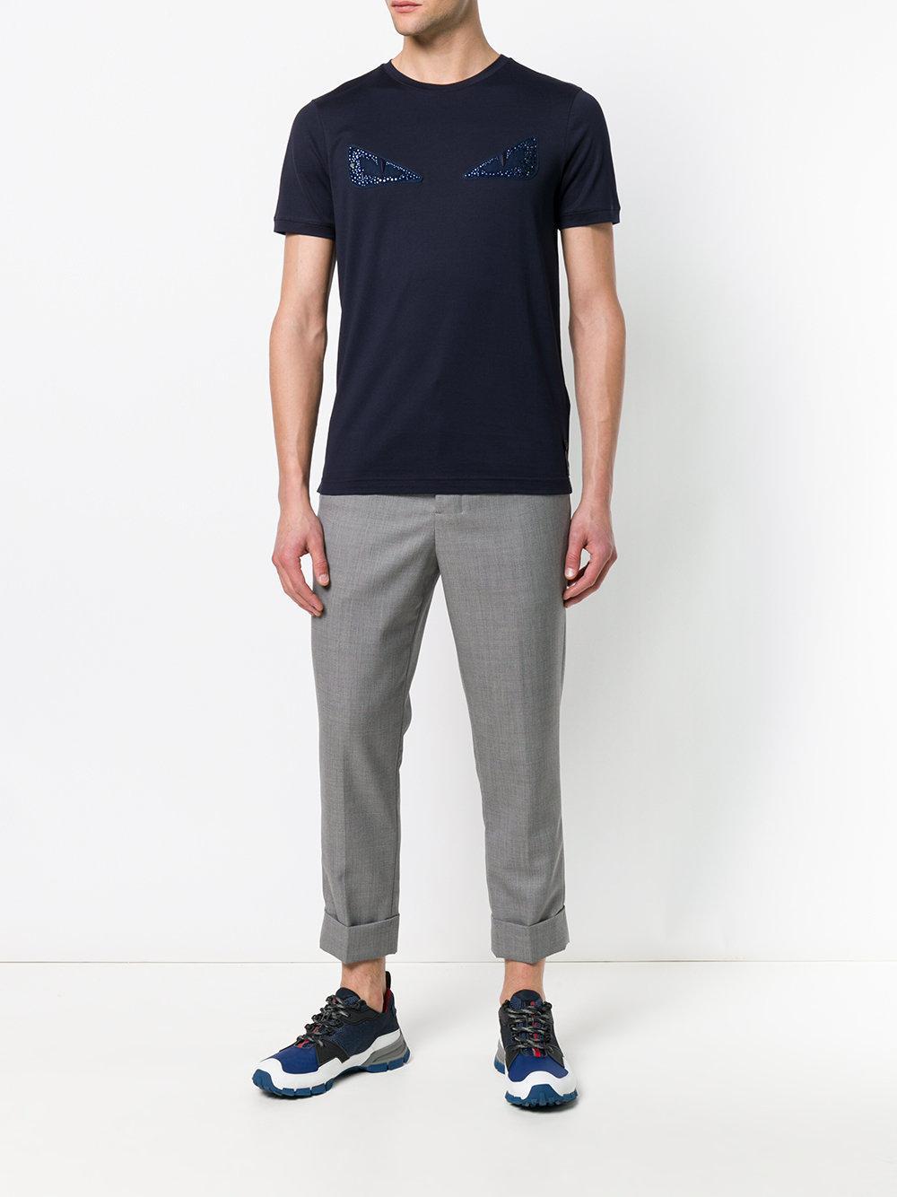aafc6b1aa Lyst - Fendi Appliqué T-shirt in Blue for Men