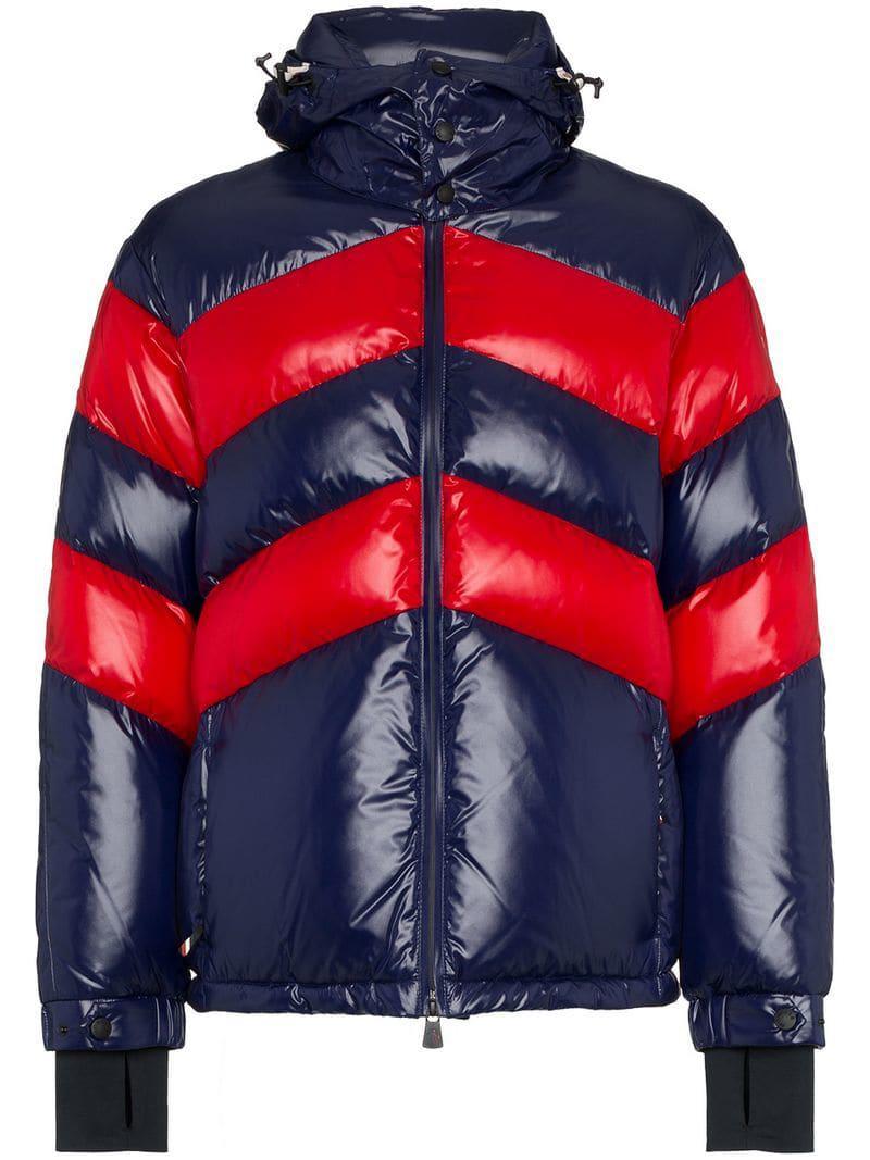 5713da276bbc7 Lyst - Moncler Grenoble Striped Padded Hooded Jacket in Blue for Men ...