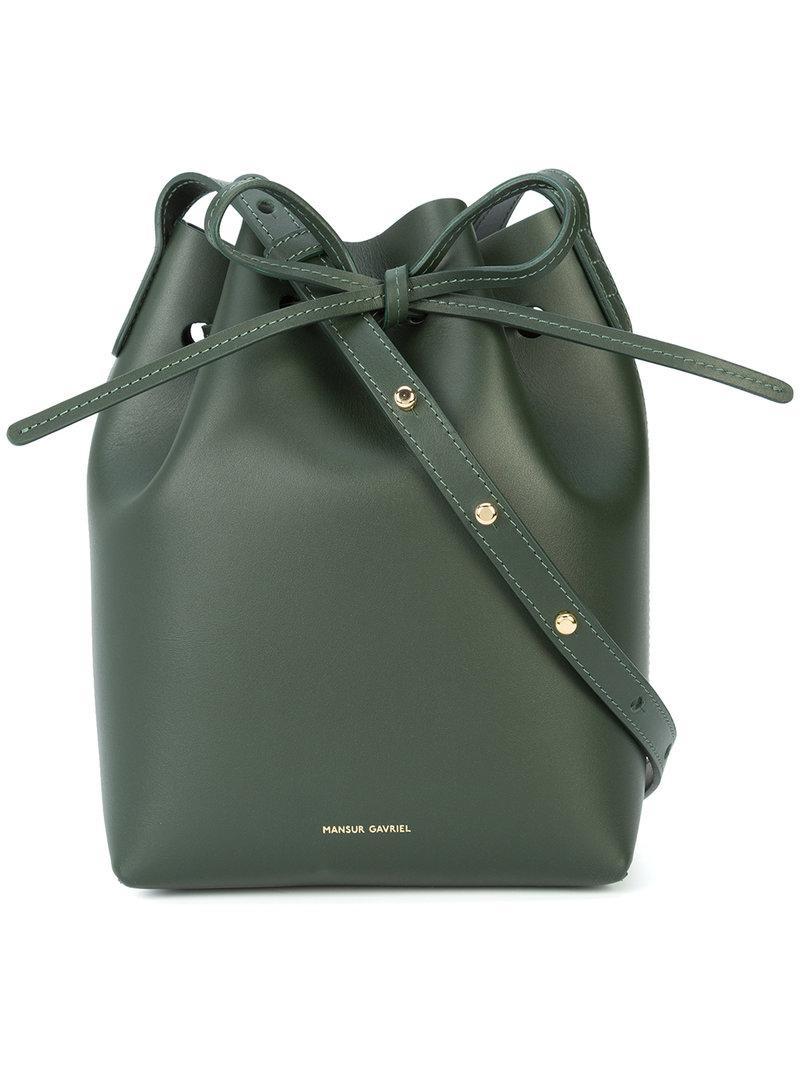 36375b20f18f Mansur Gavriel - Green Mini Bucket Bag - Lyst. View fullscreen