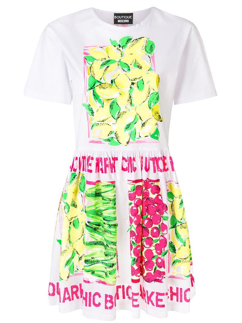 bfe2b2b0f074 Lyst - Boutique Moschino Lemon Print Dress in White