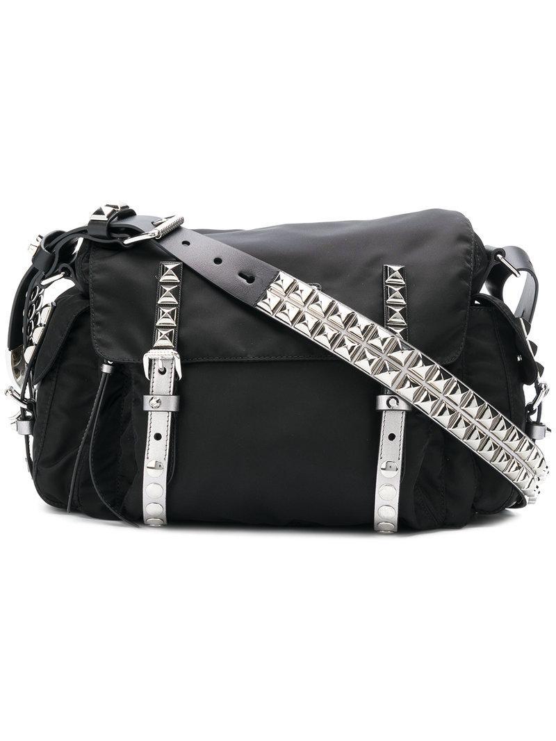 2f79e2cf6cc7 ... shopping mens black nylon messenger bag w leather trim great fit 70aca  a83c0 prada. womens