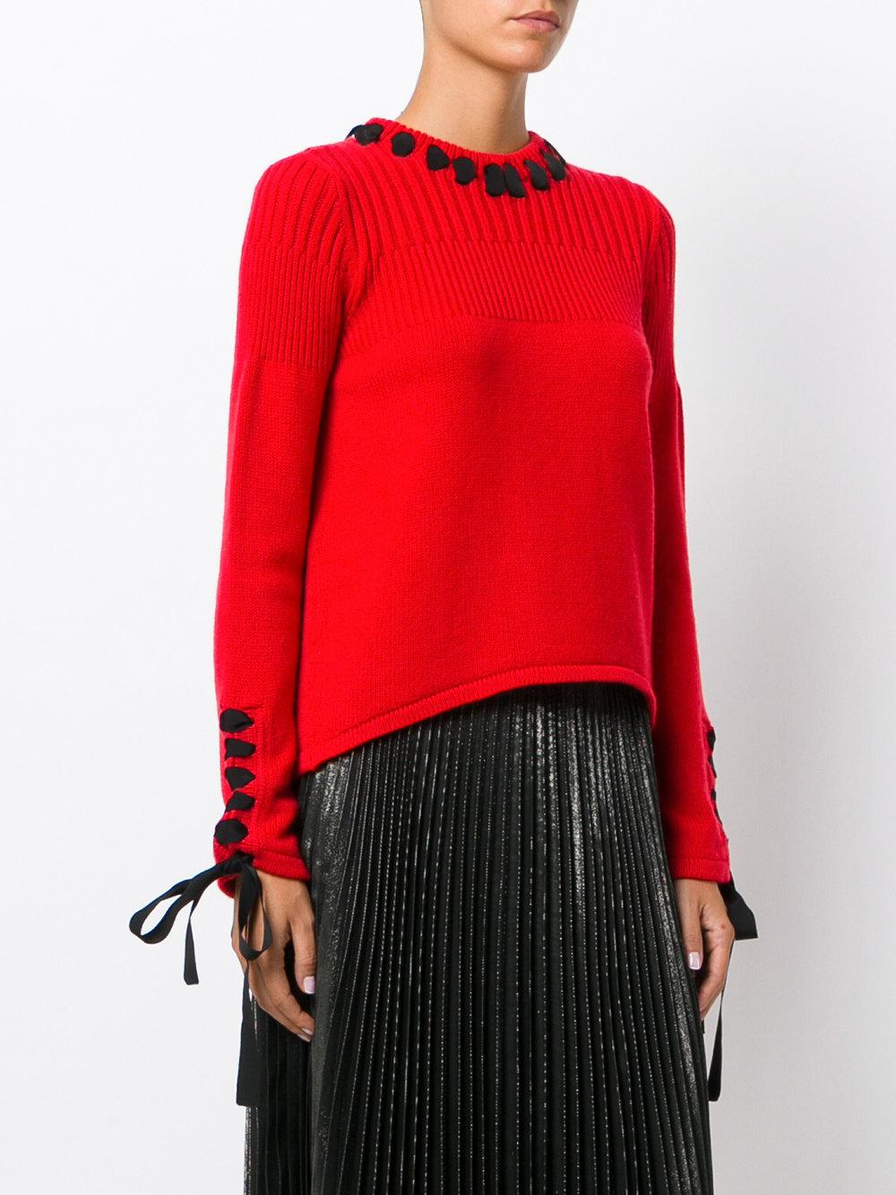 Fendi Lace-up Detailing Sweater in Red | Lyst