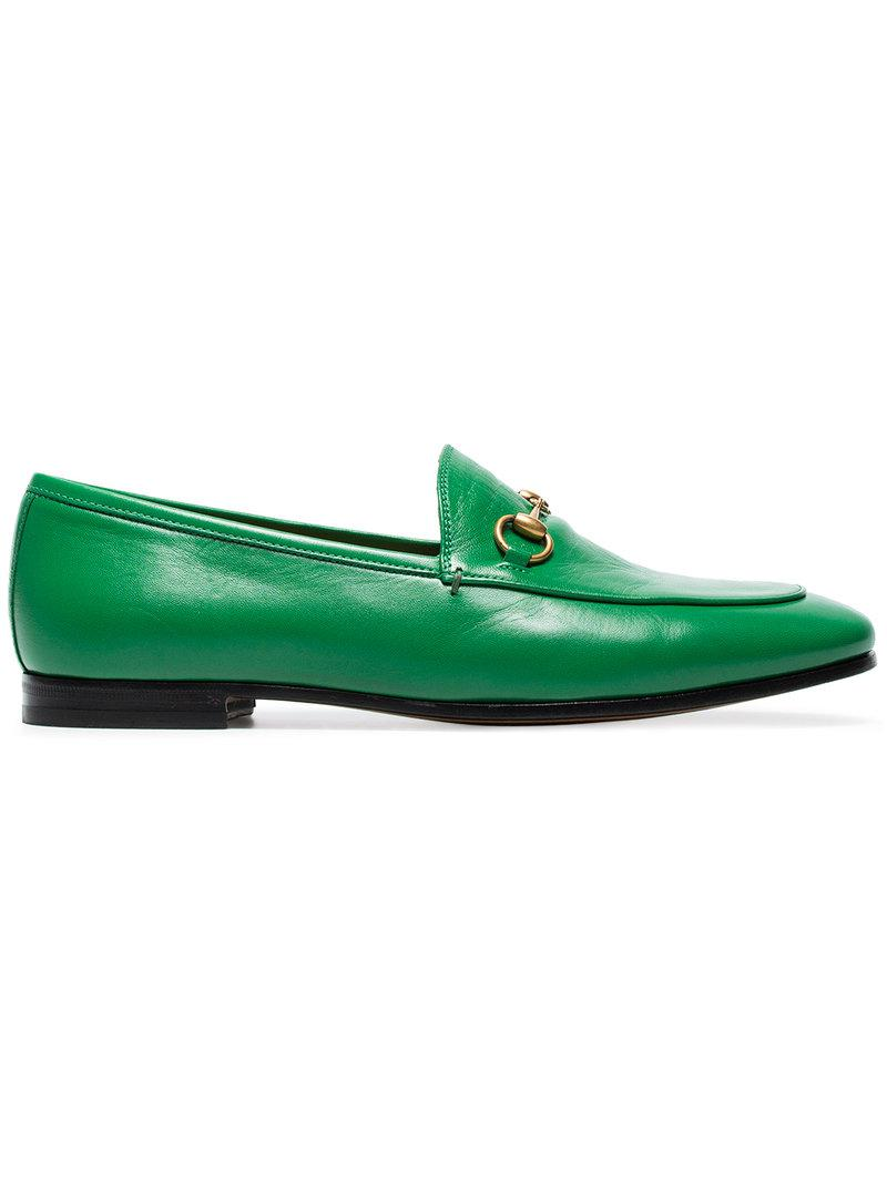 f76ba34a9d2 Lyst - Gucci Jordaan Loafers in Green