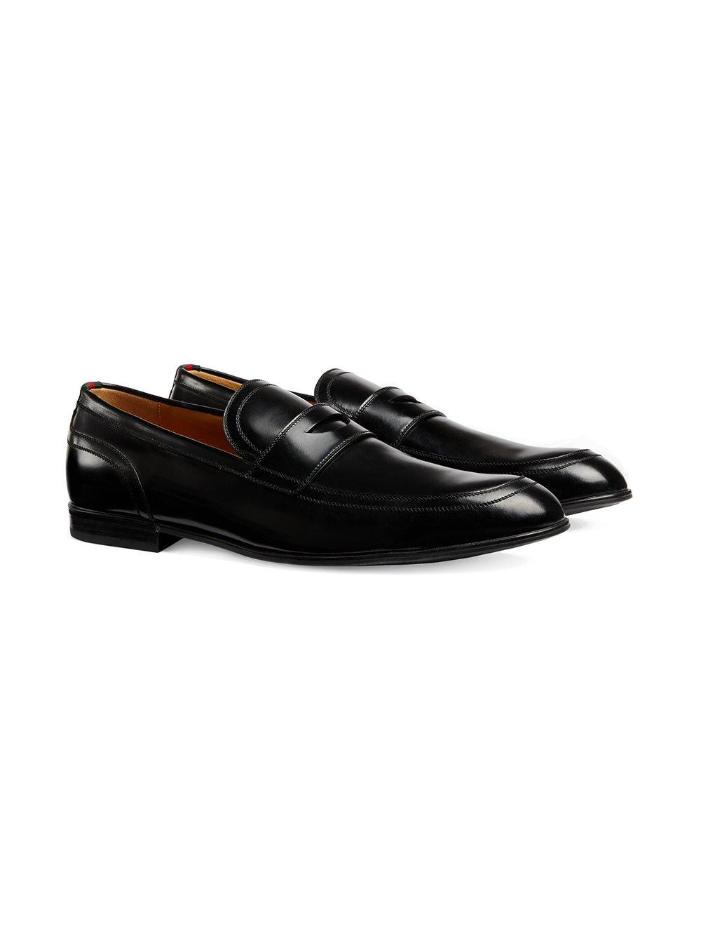 8176b7d5f11 Lyst - Gucci Leather Loafer With Web in Black for Men