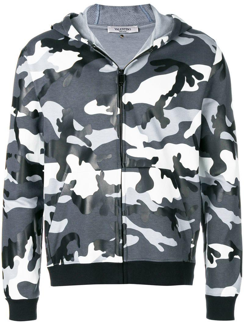 6eee8d528 Valentino - Gray Camouflage Print Zipped Hoodie for Men - Lyst. View  fullscreen