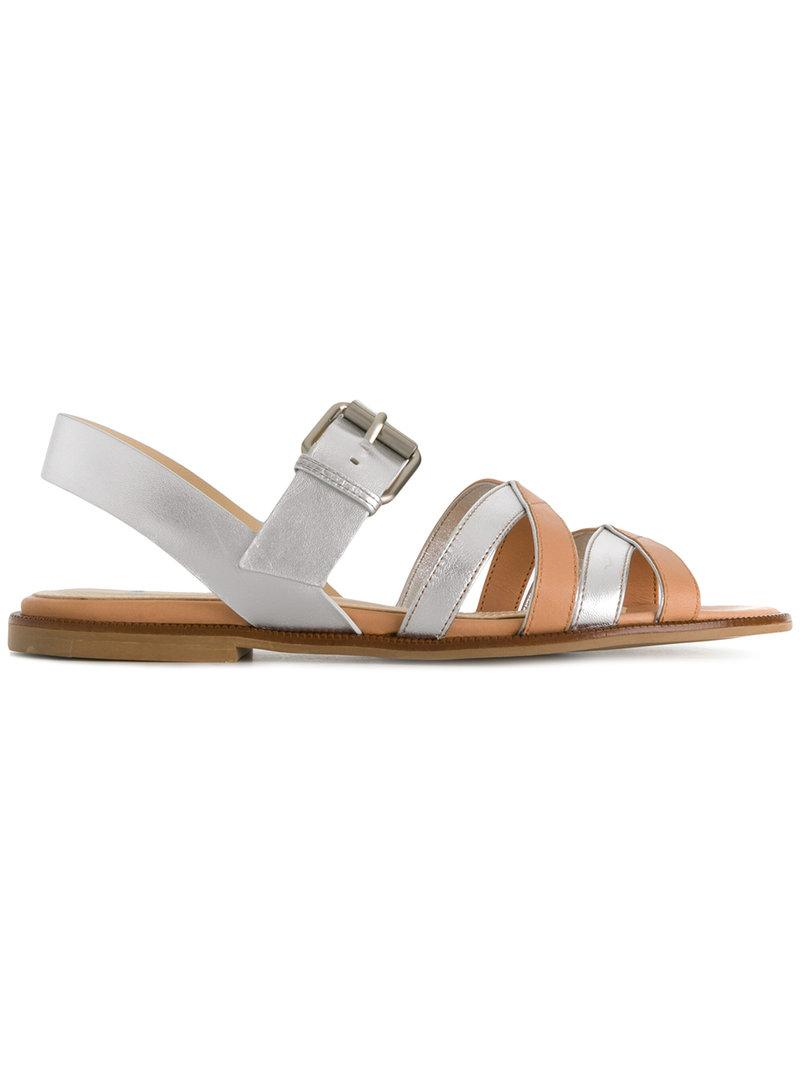 Manchester cheap online outlet shop Jil Sander Navy Metallic Slide Sandals 100% original for sale clearance 100% authentic the best store to get 90hdaRE