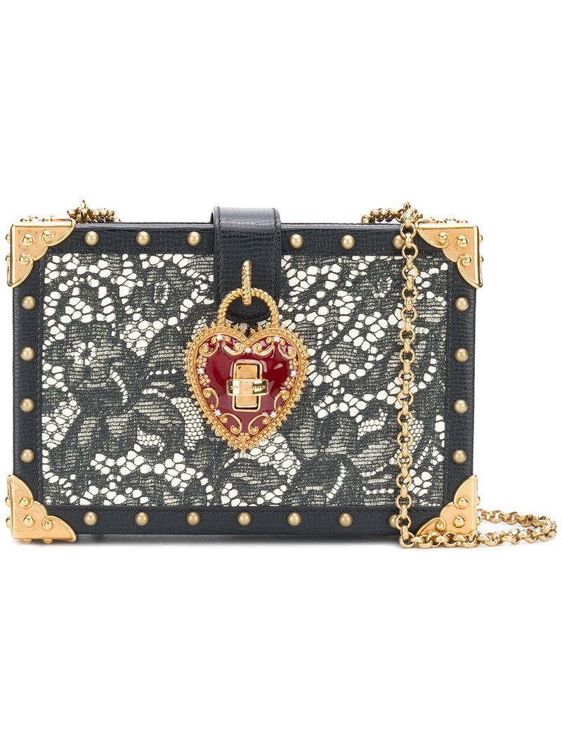 a608d31f268e Lyst - Dolce   Gabbana Lace Box Shoulder Bag in Black