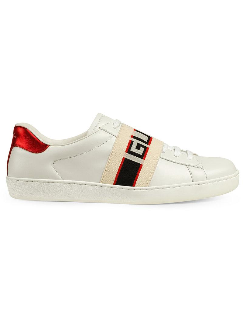 022e82de5e1 Gucci Stripe Leather Sneaker in White for Men - Save 2% - Lyst