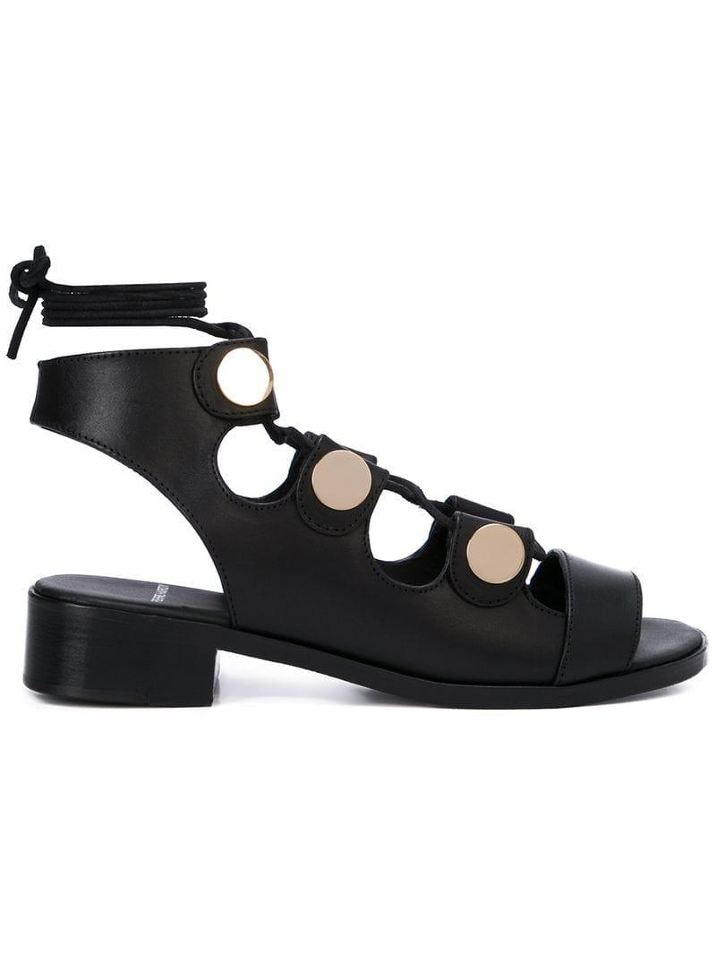 4531537bf33ee6 Lyst - Pierre Hardy Embellished Lace-up Sandals in Black