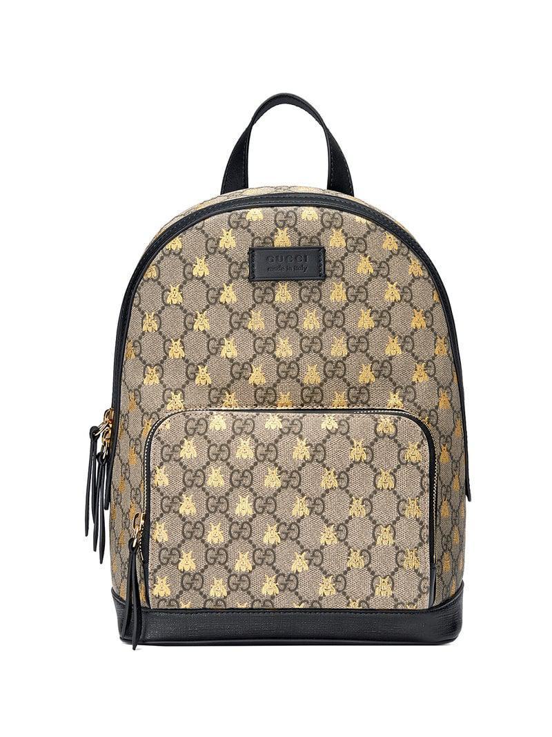 e1971b0a169 Gucci - Black GG Supreme Bees Backpack - Lyst. View fullscreen