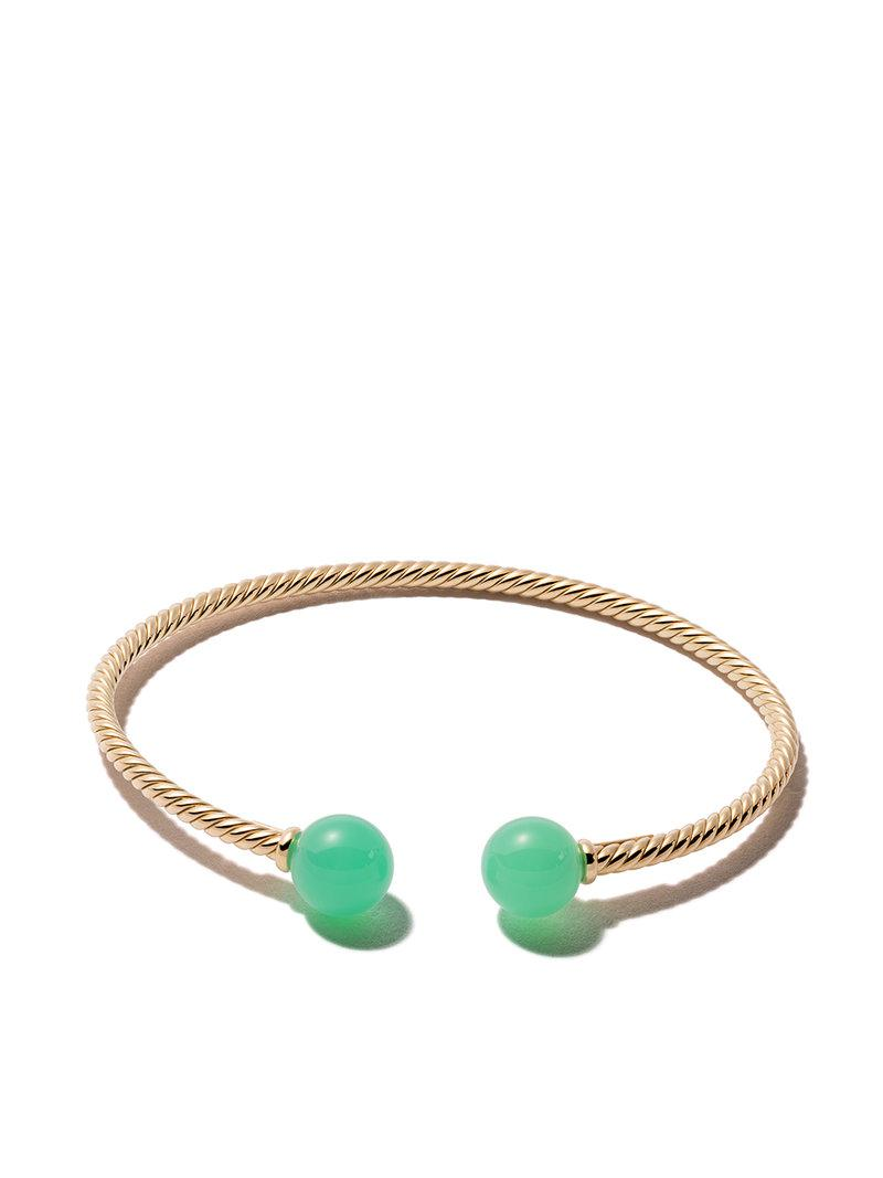 David Yurman 18kt yellow gold Solari chrysoprase bead cuff bracelet - Green Uvr2CX6j