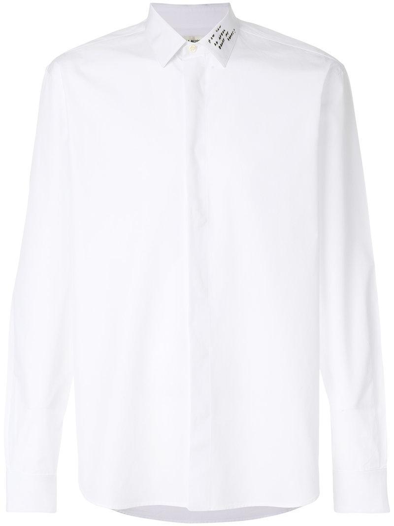 Lyst saint laurent embroidered yves collar shirt in for Yves saint laurent white t shirt