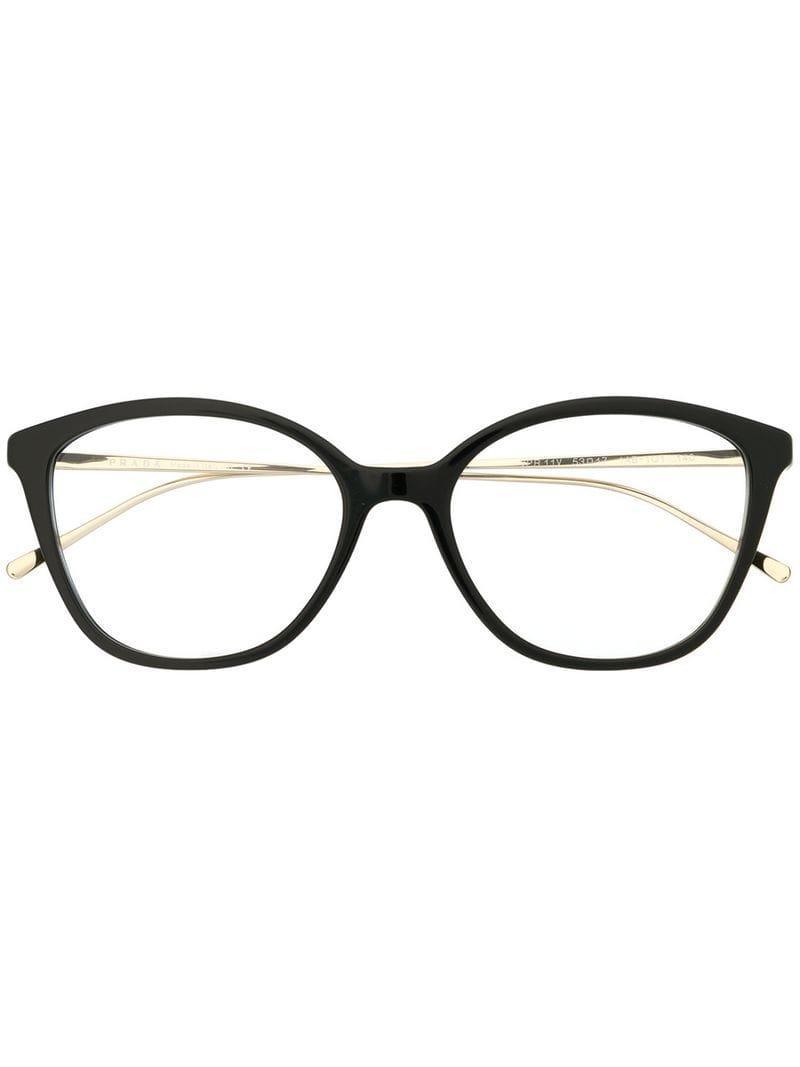 53d53e21bc3 Prada Square-frame Glasses in Black - Lyst