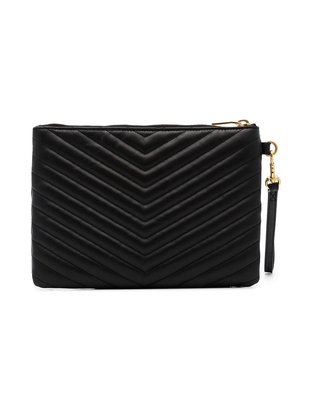Saint Laurent - Black Quilted Leather Clutch Bag - Lyst. View fullscreen 7444ec9ffd3ac