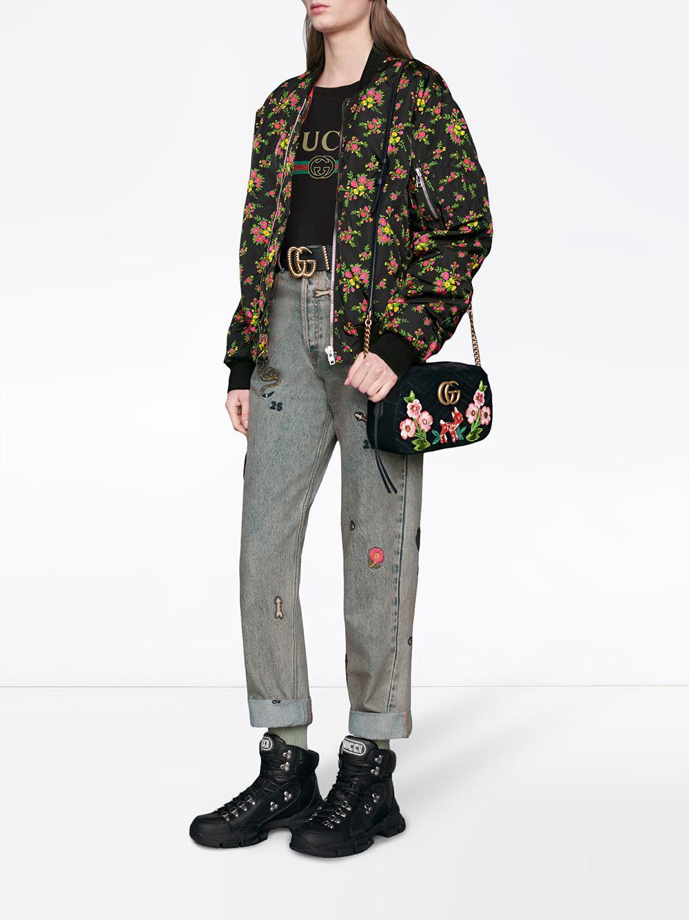 4a69b9e87cf Lyst - Sac porté épaule GG Marmont à broderies Gucci en coloris Noir