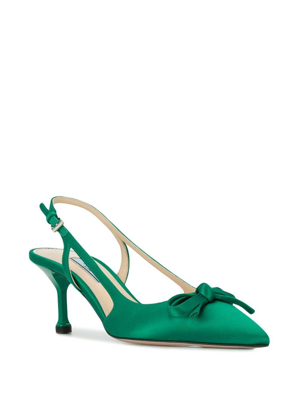 2aa6979dc008 Lyst - Prada Satin Slingback Pumps in Green - Save 2%