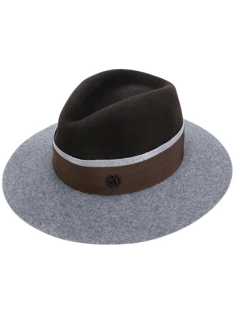 Lyst - Maison Michel Logo Plaque Panama Hat in Brown 60bd3d68181c