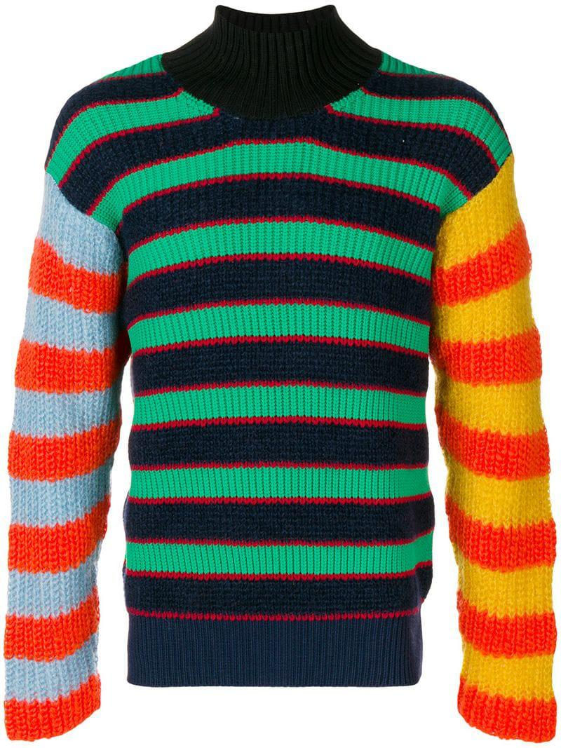80d2a793 Kenzo Mock Neck Knitted Sweater in Blue for Men - Lyst