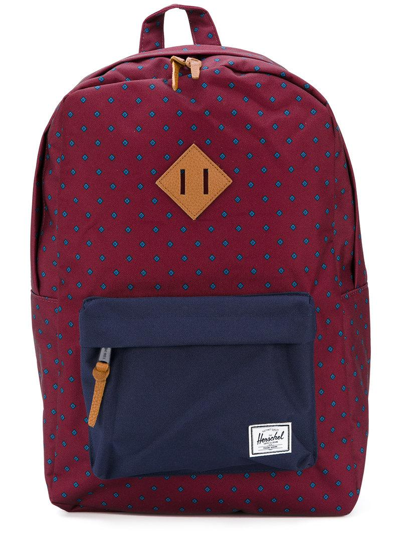 Lyst - Herschel Supply Co. Diamond Print Backpack in Red for Men ccefa515f71f5