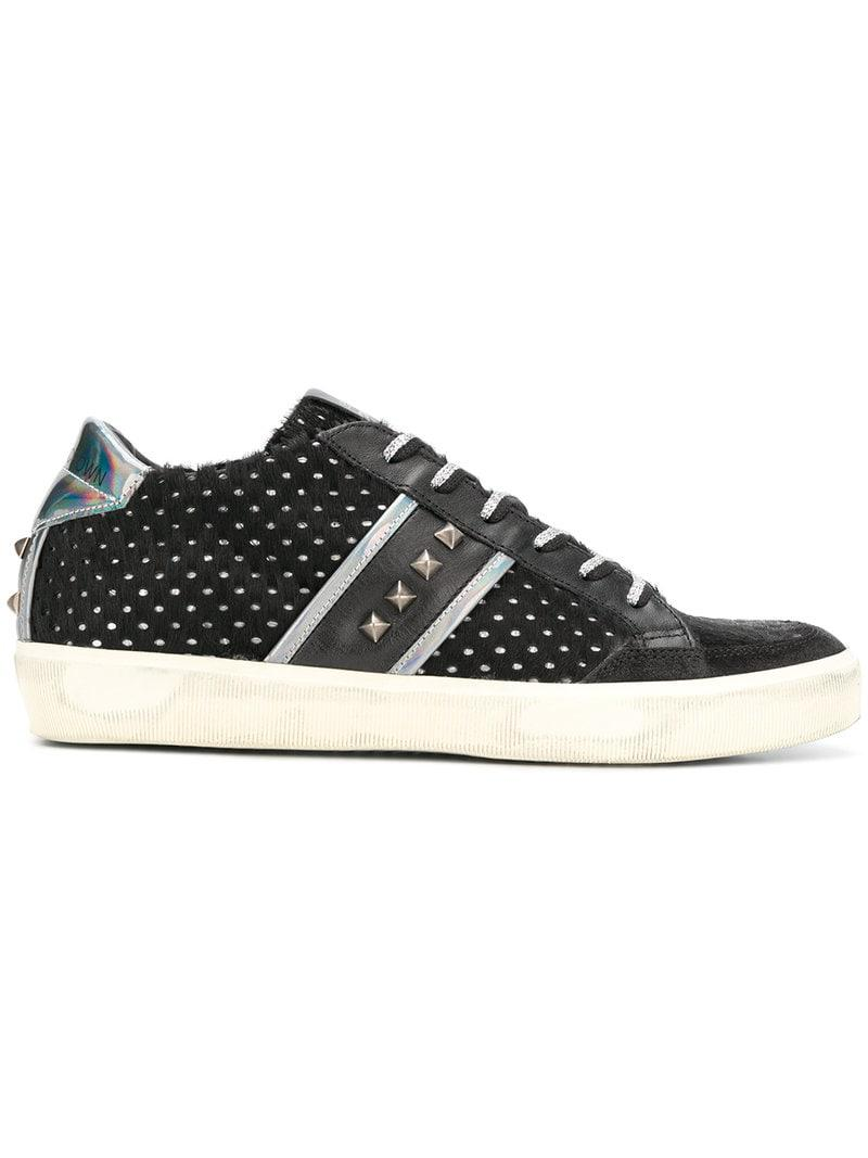 the best attitude c1ea2 46f3e leather-crown-Black-Studded-Low-top-Sneakers.jpeg