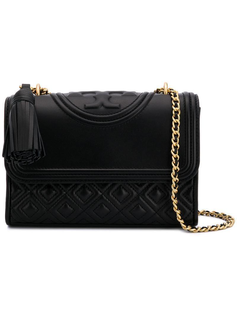 93c13034078 Tory Burch Fleming Convertible Shoulder Bag in Black - Lyst