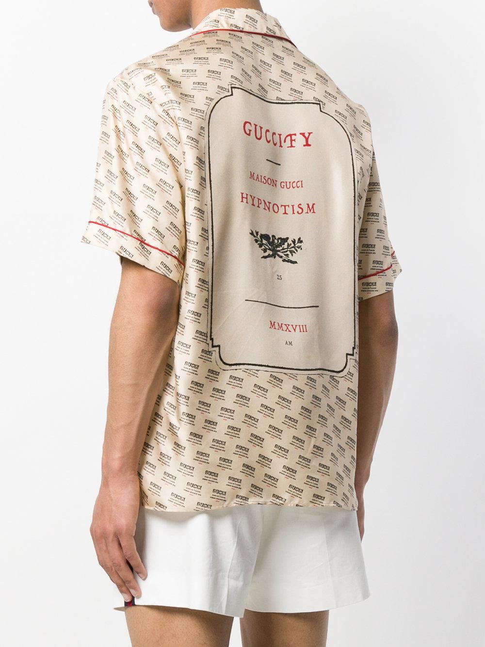 Lyst - Camisa estilo bowling con motivo invite Gucci de hombre de ... 0fb86ee1b11