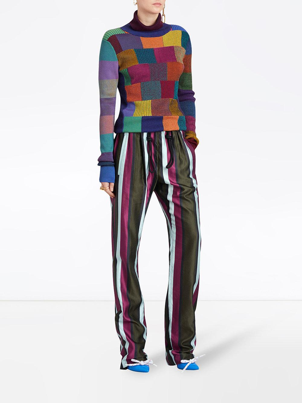 Striped Cotton Silk Satin Tailored Track Pants - Multicolour Burberry hHwz2NX