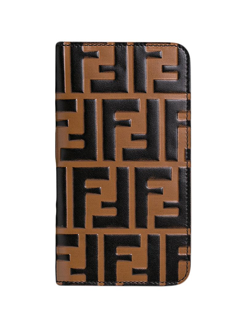 9d7cb155073b Fendi Ff Logo Iphone X Case in Brown - Lyst