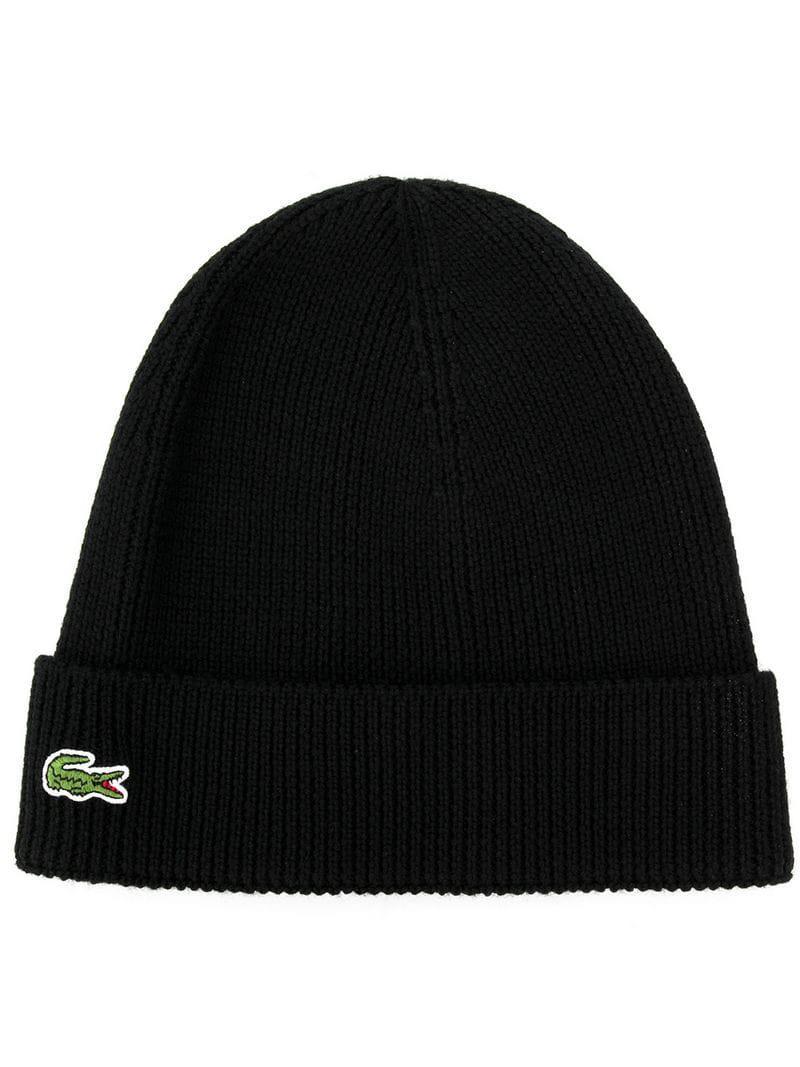 f9f520bf39f Lyst - Lacoste Logo Beanie in Black for Men