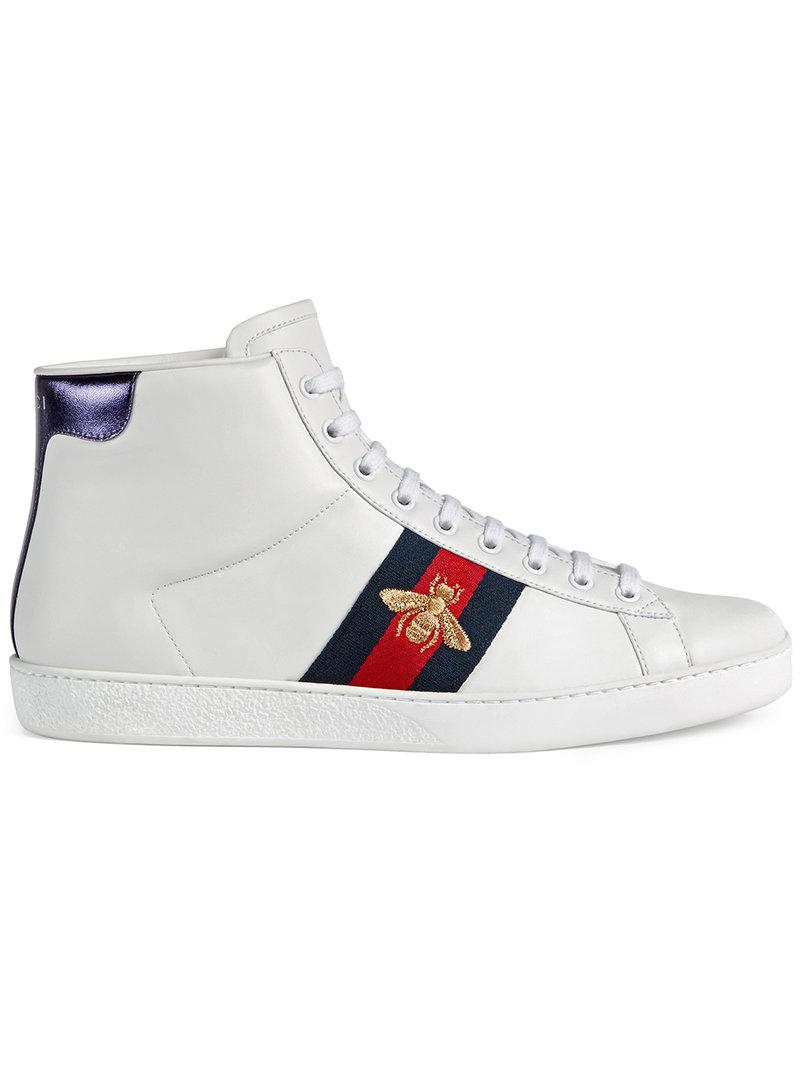 e683ab258cf Lyst - Gucci Ace High-top Sneaker in White for Men
