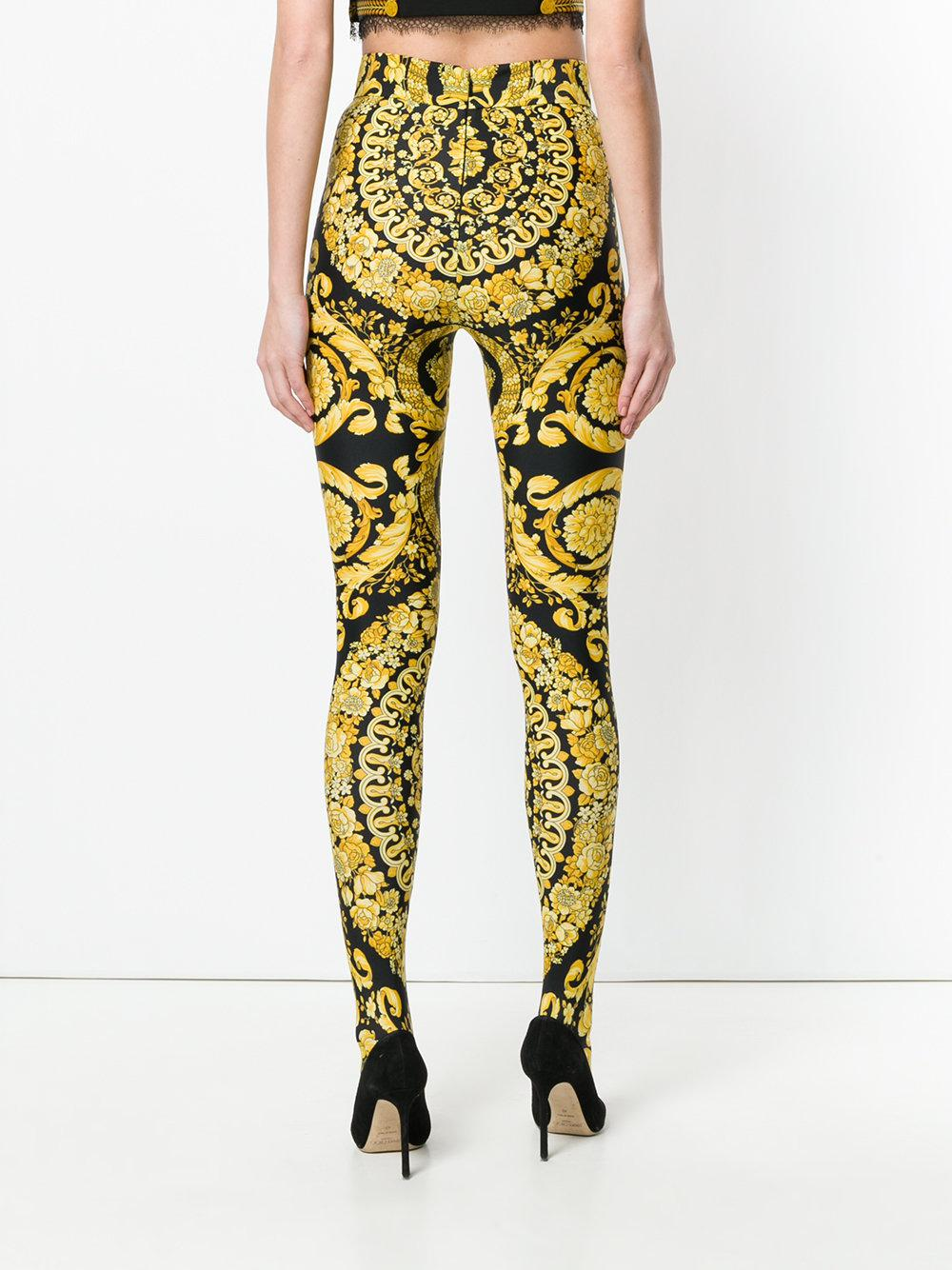 13e246b1b9e33 Versace Baroque Full Foot Leggings in Yellow - Lyst